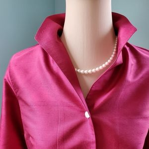 Talbots Silk Magenta colored blouse.